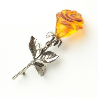 Silber Bernstein Brosche Rose